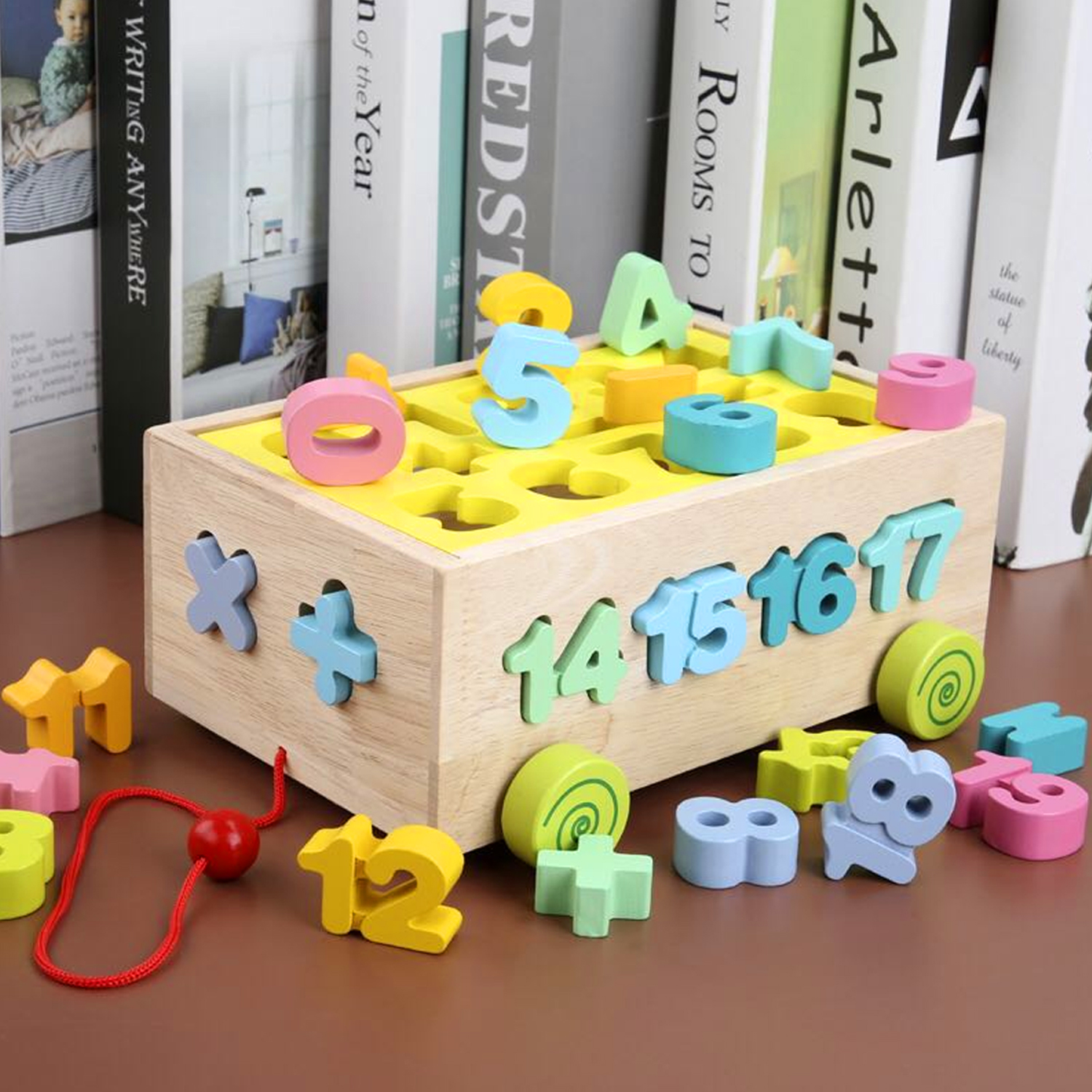 Wooden Pull along car Numbers Sorter