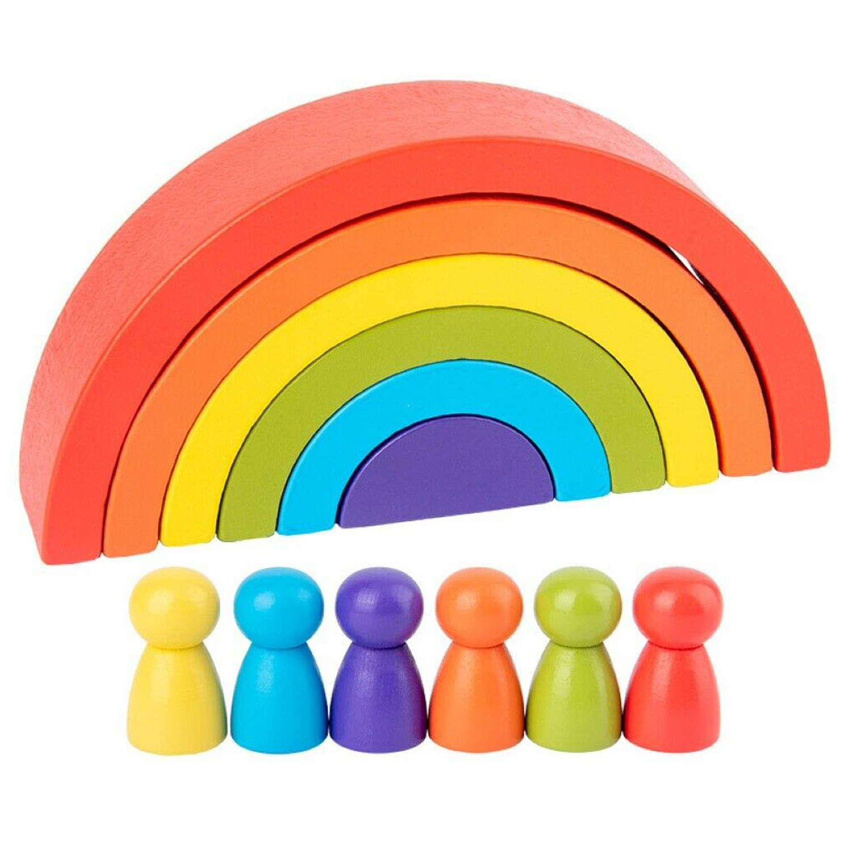 Mini Wooden Rainbow and Peg Dolls