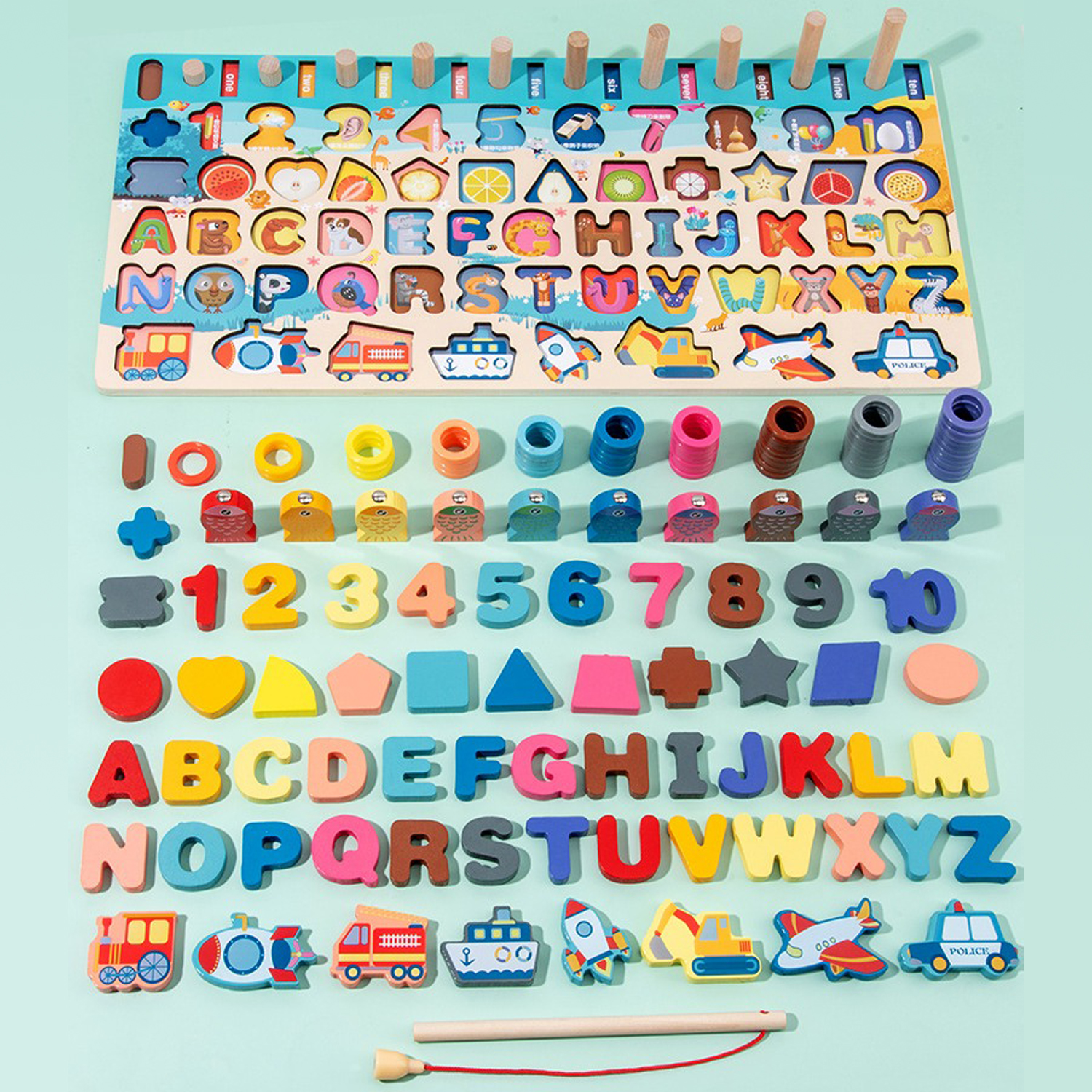 Wooden Alphabet Numbers Letters 7 in 1