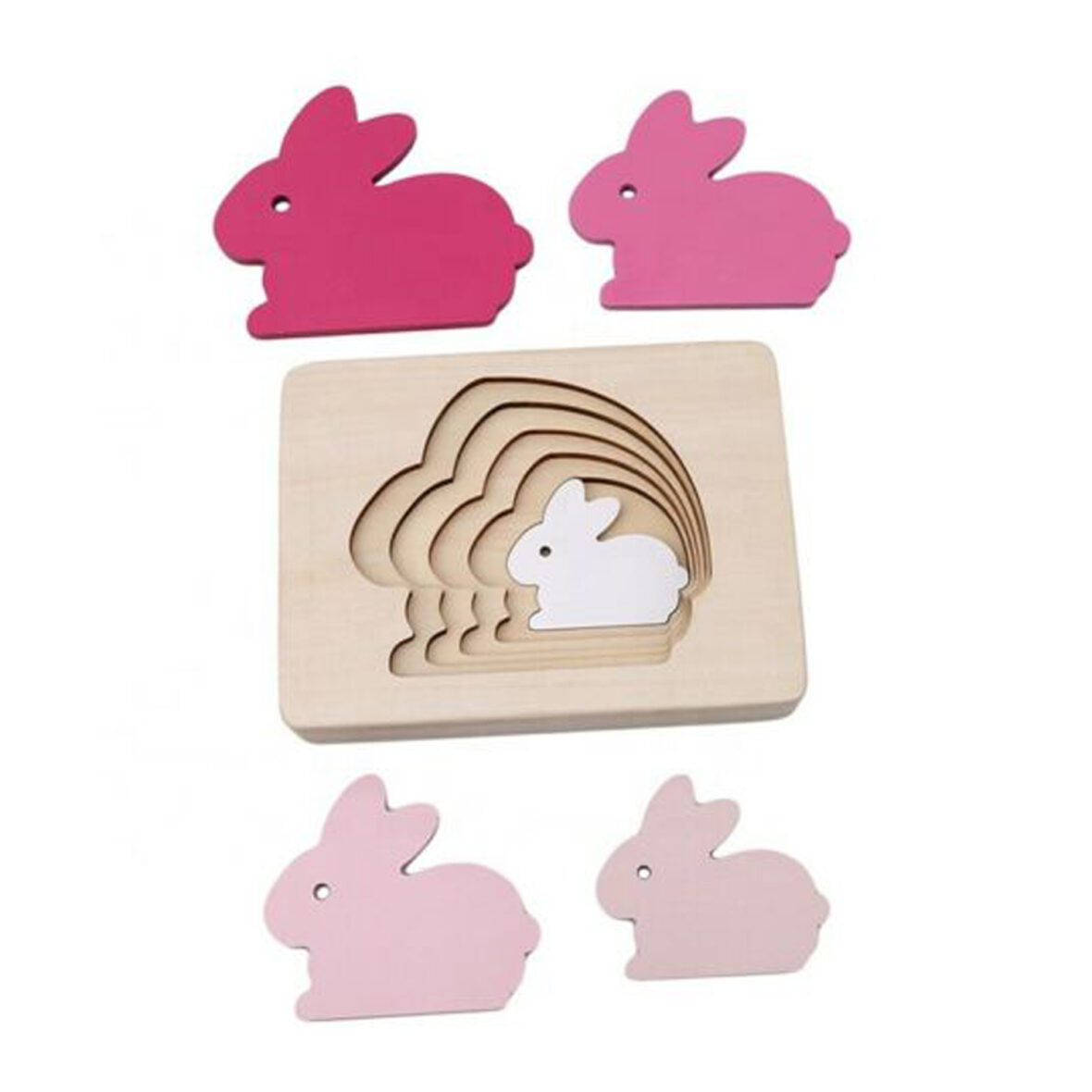 Baby wooden 3D Jigsaw Puzzle Toy – Rabbit