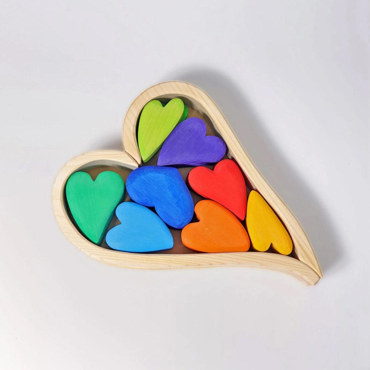 New Rainbow Heart Blocks Building Blocks Learning Educational Montessori Toy
